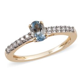9K Yellow Gold AA Espirito Santo Aquamarine (Ovl 6x4mm), Natural Cambodian Zircon Ring 0.65 Ct.