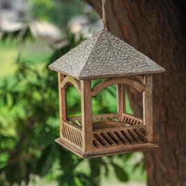 Handmade and Carved Mango Wood Hanging Bird Feeder (Size 21.5x21.5x29.2 Cm)