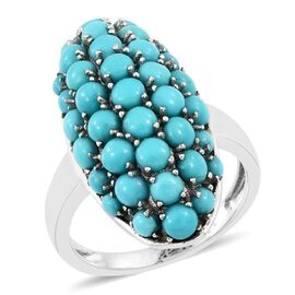 4 Carat Sleeping Beauty Turquoise Cluster Ring in Platinum Plated Silver 5.55 Grams