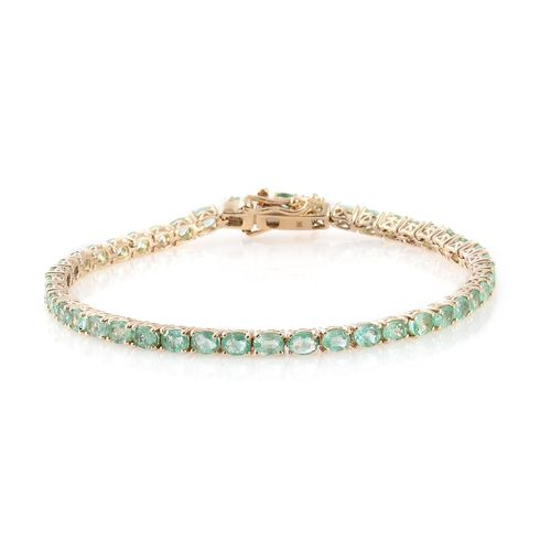 Limited Available-9K Yellow Gold Boyaca Colombian Emerald (Ovl) Tennis Bracelet (Size 7.5) 7.000 Ct. Gold Wt 8.45 Gms