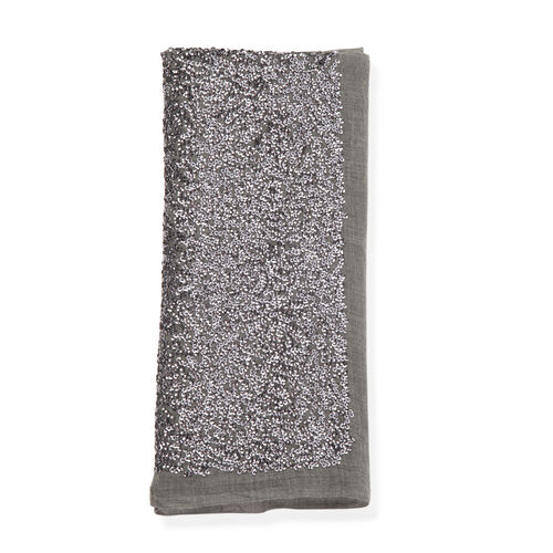 Grey Colour Jacquard Hand Stiched Sequin Border Shawl (Size 200x75 Cm)