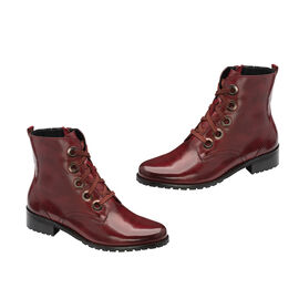 Ravel Marti Lace-Up Leather Ankle Boots - Burgundy