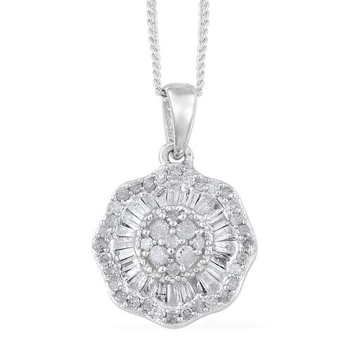 Diamond (Rnd and Bgt) Pendant with Chain (Size 18) in Platinum Overlay Sterling Silver 0.500 Ct.