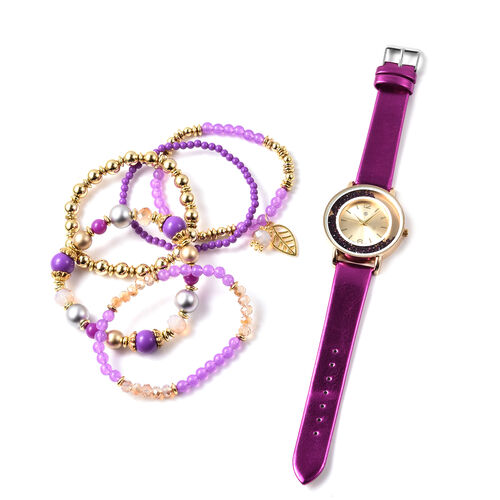 6 Piece Set - STRADA Japanese Movement Moving Purple Austrian Crystal Water Resistant Watch with Pur