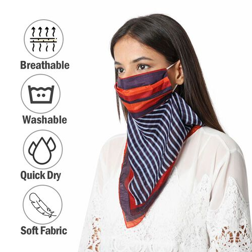 New Arrival- 2 in 1 Stripe Pattern 100% Mulberry Silk Scarf and Protective Face Covering in Red, Blue and Multi Colour (Size 40x40 Cm)
