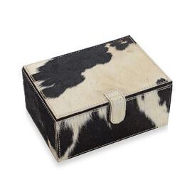 2-Tier Dalmatians Pattern Hide Natural Leather Jewellery Storage Box with Magnetic Flap (Size 18x13x
