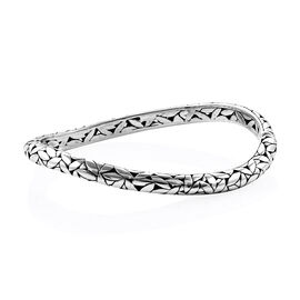 Bali Legacy Collection Sterling Silver Leaf Bangle (Size 7.25), Silver wt 24.00 Gms.