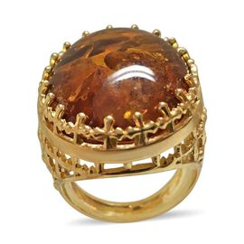 Baltic Amber (Ovl 25x18mm) Ring in 14K Gold Overlay Sterling Silver 15.000 Ct.