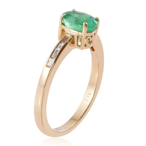 ILIANA 18K Yellow Gold AAA Boyaca Colombian Emerald (Ovl 1.06 Ct), Diamond (SI/G-H) Ring 1.150 Ct.