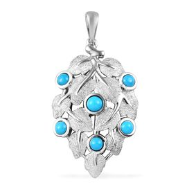 Arizona Sleeping Beauty Turquoise Leaf Design Pendant in Platinum Overlay Sterling Silver 1.00 Ct.