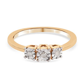 Diamond Trilogy Ring in 14K Gold Over Sterling Silver