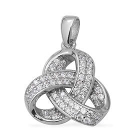 ELANZA Simulated Diamond Triple Knot Pendant in Rhodium Plated Sterling Silver