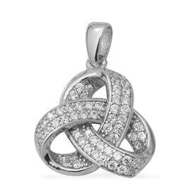ELANZA Simulated Diamond (Rnd) Triple Knot Pendant in Rhodium Overlay Sterling Silver
