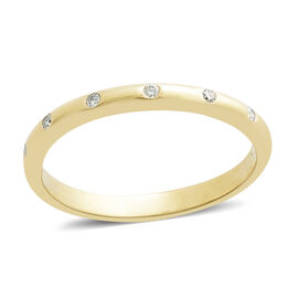 9K Yellow Gold SGL Certified Diamond (Rnd) (I3/G-H) Band Ring 0.150 Ct.