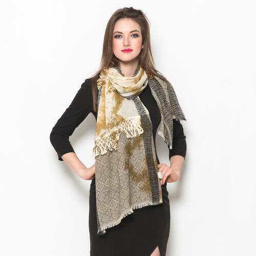 Designer Inspired 100% Cotton Tie and Dye Pattern Beige, Black and Multi Colour Scarf with Lace Border (Size 180x50 Cm)