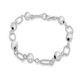 Ball Link Bracelet in Sterling Silver 7.5 Inch