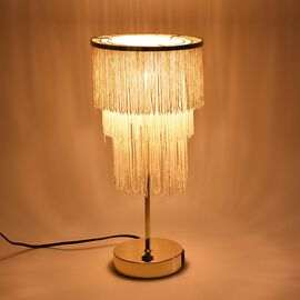 3 Layer Tassel Table Lamp with Two USB Port (H-42 Cm) - Cream