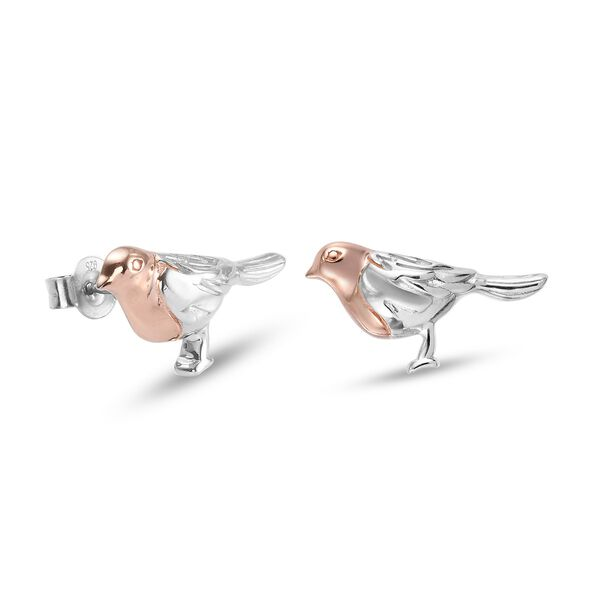 The National Bird - Rose Gold and Platinum Overlay Sterling Silver Robin Stud Earrings (with Push Back), Silver wt. 4.16 Gms