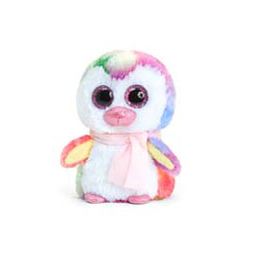 Rainbow Penguin with Pink Scarf 10 cm