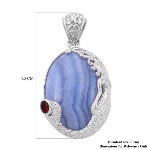 Sajen Silver - Blue Lace Agate and Mozambique Granet Pendant in Sterling Silver 38.00 Ct.
