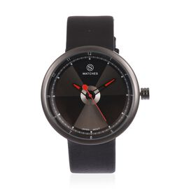 STRADA Japanese Movement Black and Grey Colour Dial Water Resistant Watch with Black Colour Strap