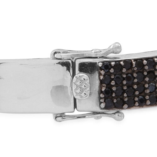 Boi Ploi Black Spinel (Rnd), White Topaz Buckle Bangle (Size 7.5) in Rhodium Plated Sterling Silver 5.000 Ct. Silver wt 16.50 Gms.