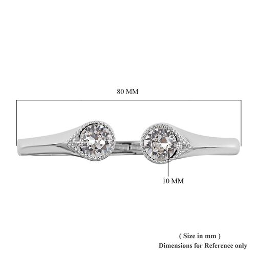 J Francis - Crystal from Swarovski White Colour Crystal Cuff Bangle (Size 7.5) in Silver Tone