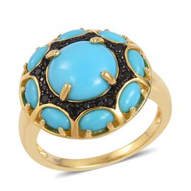 Arizona Sleeping Beauty Turquoise (Rnd 4.15 Ct), Boi Ploi Black Spinel Ring in Black and Yellow Gold Overlay Sterling Silver 4.500 Ct.