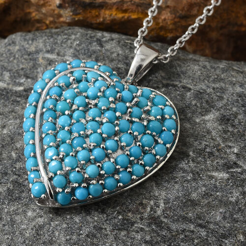 Arizona Sleeping Beauty Turquoise (Rnd) Heart Pendant with Chain in Platinum Overlay Sterling Silver 3.500 Ct, Silver wt 6.35 Gms