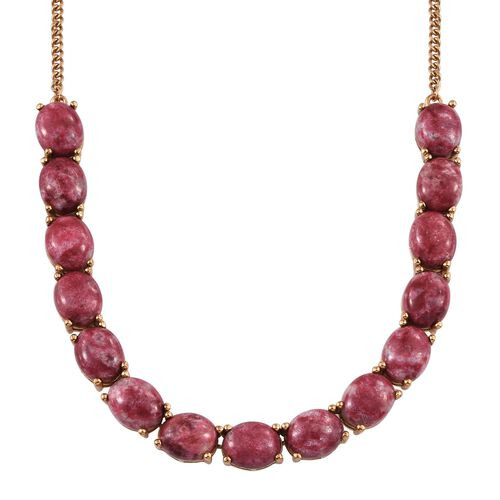 Norwegian Thulite (Ovl) Necklace (Size 18) in 14K Yellow Gold Overlay Sterling Silver 45.000 Ct. Silver wt 13.96 Gms.
