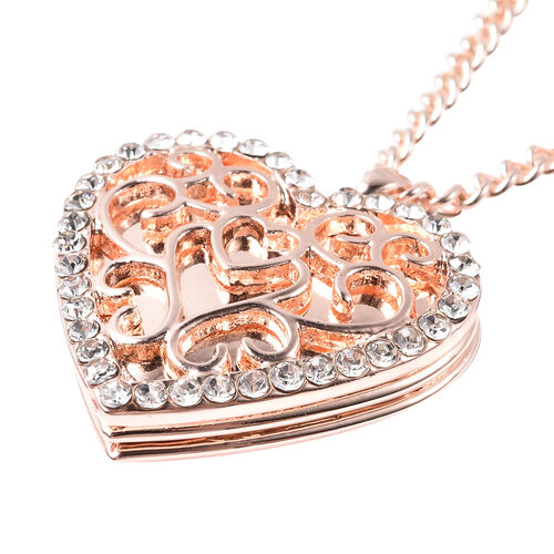 White Austrian Crystal Heart Locket Necklace (Size 20 with Extender) in Rose Gold Tone
