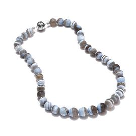 Australian Boulder Opal Beaded Necklace with Magnetic Lock in Rhodium Plated Silver 18 Inch