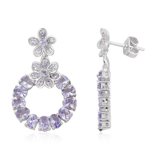 Tanzanite (Ovl) Earrings (with Push Back) in Platinum Overlay Sterling Silver 4.650 Ct.