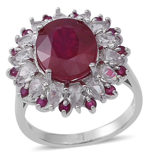 African Ruby (Ovl 6.00 Ct), Natural White Cambodian Zircon and Burmese Ruby Flower Ring in Rhodium Plated Sterling Silver 8.750 Ct.