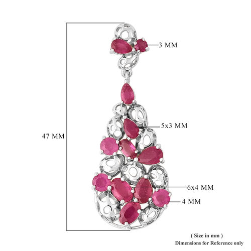 RACHEL GALLEY Misto Collection - African Ruby Drop Earrings (with Push Back) in Rhodium Overlay Sterling Silver 10.17 Ct, Silver wt 10.07 Gms