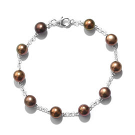 Close Out Deal- Freshwater Peacock Pearl Bracelet (Size 7.5) in Sterling Silver