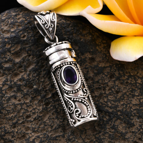 Royal Bali Collection - Amethyst Love Potion Pendant in Sterling Silver Silver wt 8.92 Gms