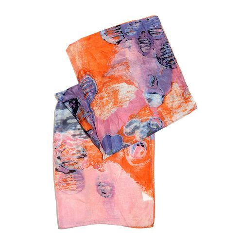 100% Mulberry Silk Orange, Blue and Multi Colour Abstract Hand Screen Printed Scarf (Size 180X50 Cm)
