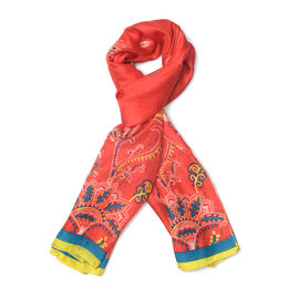 New Season- 100% Mulberry Silk Red and Multi Colour Scarf (Size 180x100)