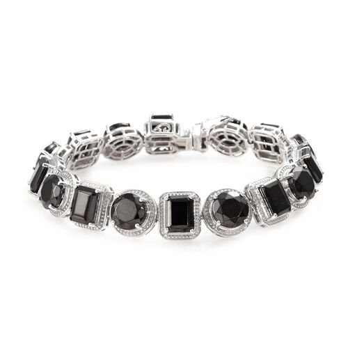 24.50 Ct Elite Shungite Tennis Design Bracelet in Platinum Plated Sterling Silver 7.5 Inch