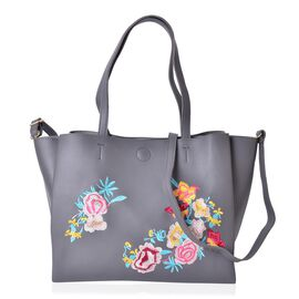 Dark Grey with Multi Colour Floral Embroidered Tote Bag with External Zipper Pocket and Shoulder Str
