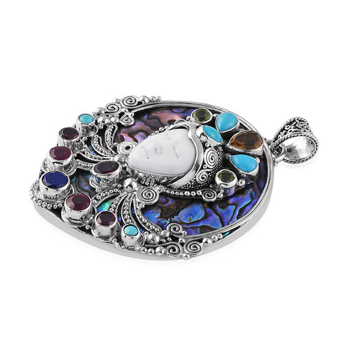Princess Bali Collection Abalone Shell, OX Bone Carved Face, Arizona Sleeping Beauty Turquoise and Multi Gemstone Pendant in Sterling Silver 33.600 Ct. Silver 13.00 Gms
