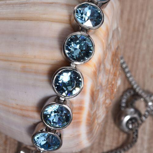 J Francis - Crystal from Swarovski Aquamarine Colour Crystal (Rnd) Adjustable Bracelet (Size 6.5-9.5) in Platinum Plated