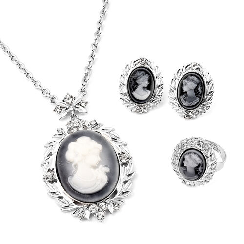 3 Piece Set - White Austrian Crystal Adjustable Ring, Vintage Style Cameo Necklace (Size 20 with 2 i