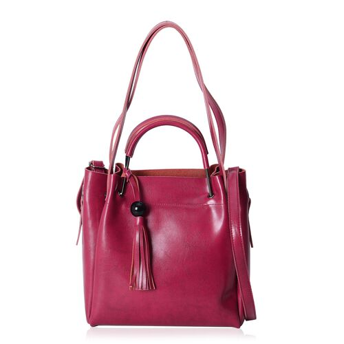 Close Out Deal High Gloassed 100% Genuine Leather Fuchsia Colour Tote Bag with Tassels (Size 29x27x11 Cm)