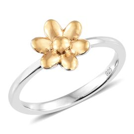 WEBEX- Flower Ring in Plating and Yellow Gold Overlay Sterling Silver, Silver wt. 2.15 Gms