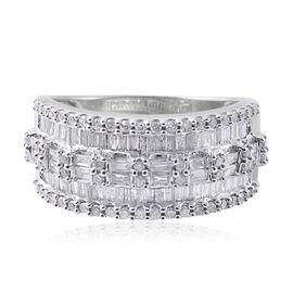 9K White Gold SGL Certified Diamond (Bgt) (I3/G-H) Ring 1.000 Ct.