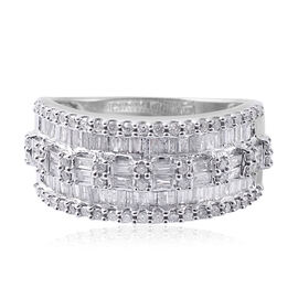 9K White Gold SGL Certified Diamond (Bgt) (I3/G-H) Ring 1.000 Ct.