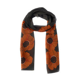 100% Mulberry Silk Orange Colour Flower Pattern  Scarf (Size 180X50Cm)