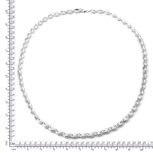Designer Inspired-Rhodium Overlay Sterling Silver Mariner Link Necklace (Size 29.5 and 0.5 inch Extender), Silver wt 46.00 Gms.